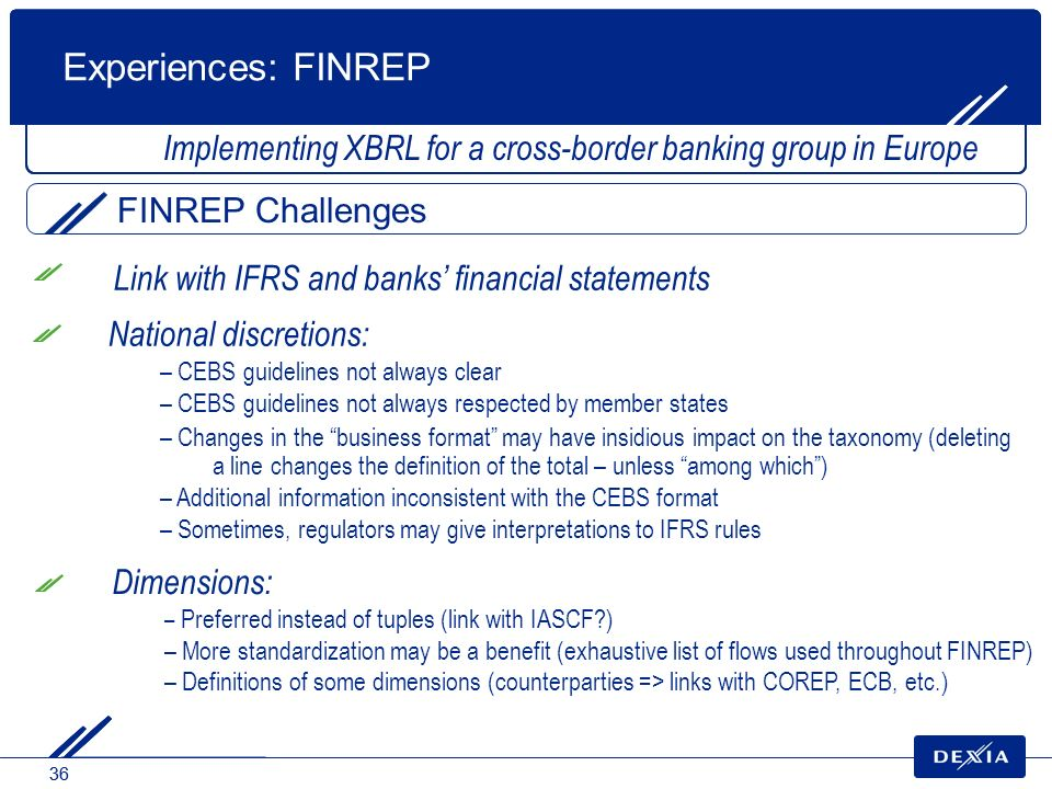 Experiences: FINREP Implementing XBRL for a cross-border banking group in Europe. FINREP Challenges.