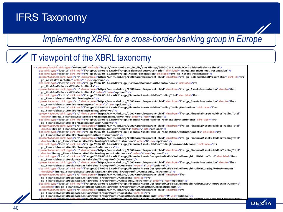 IFRS Taxonomy Implementing XBRL for a cross-border banking group in Europe.