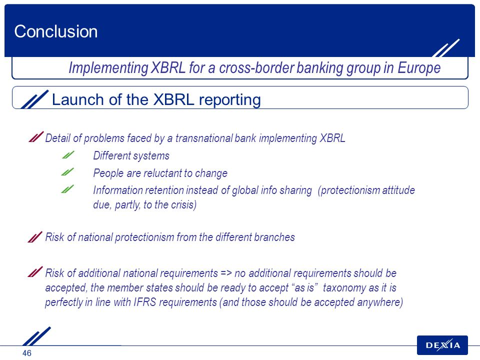 Conclusion Implementing XBRL for a cross-border banking group in Europe. Launch of the XBRL reporting.