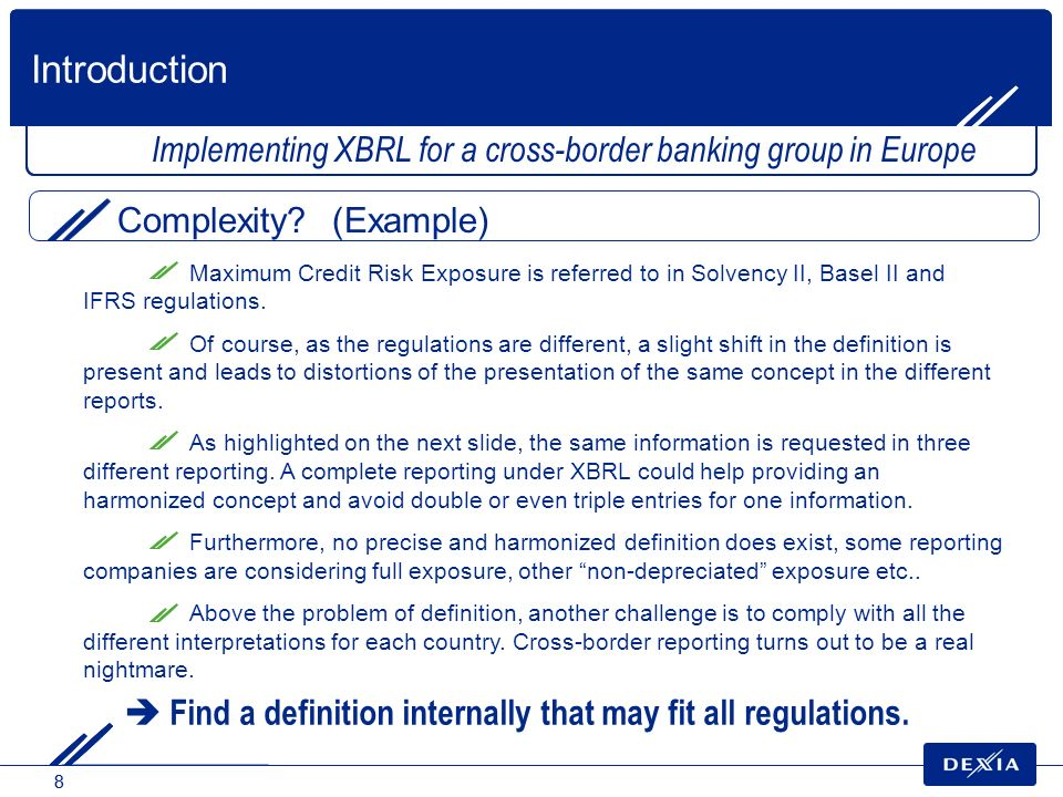 Introduction Implementing XBRL for a cross-border banking group in Europe. Complexity (Example)