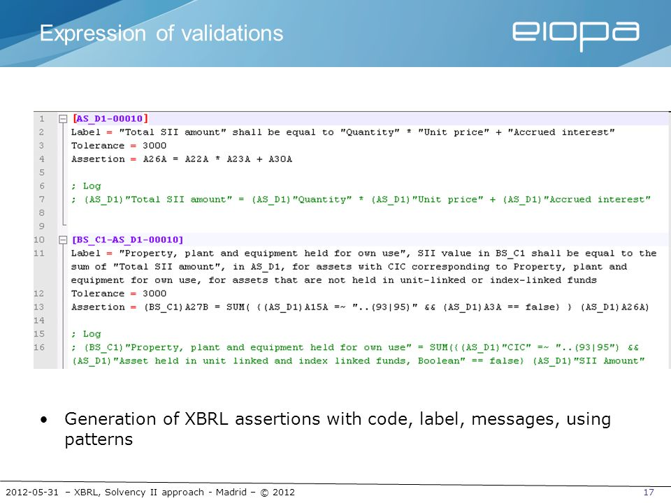 Expression of validations