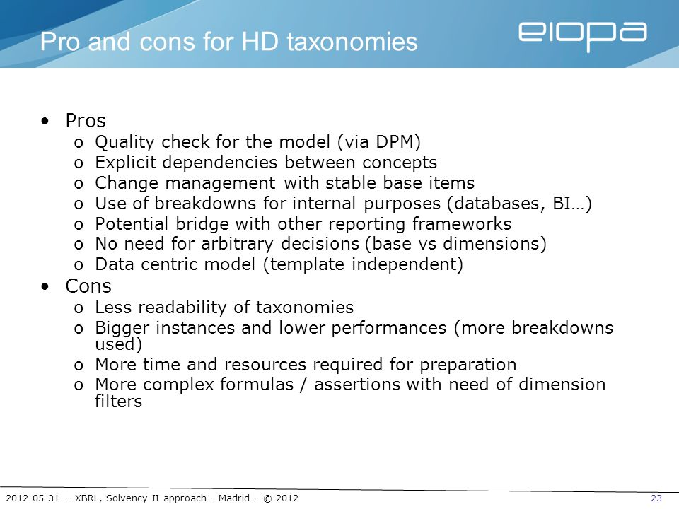 Pro and cons for HD taxonomies