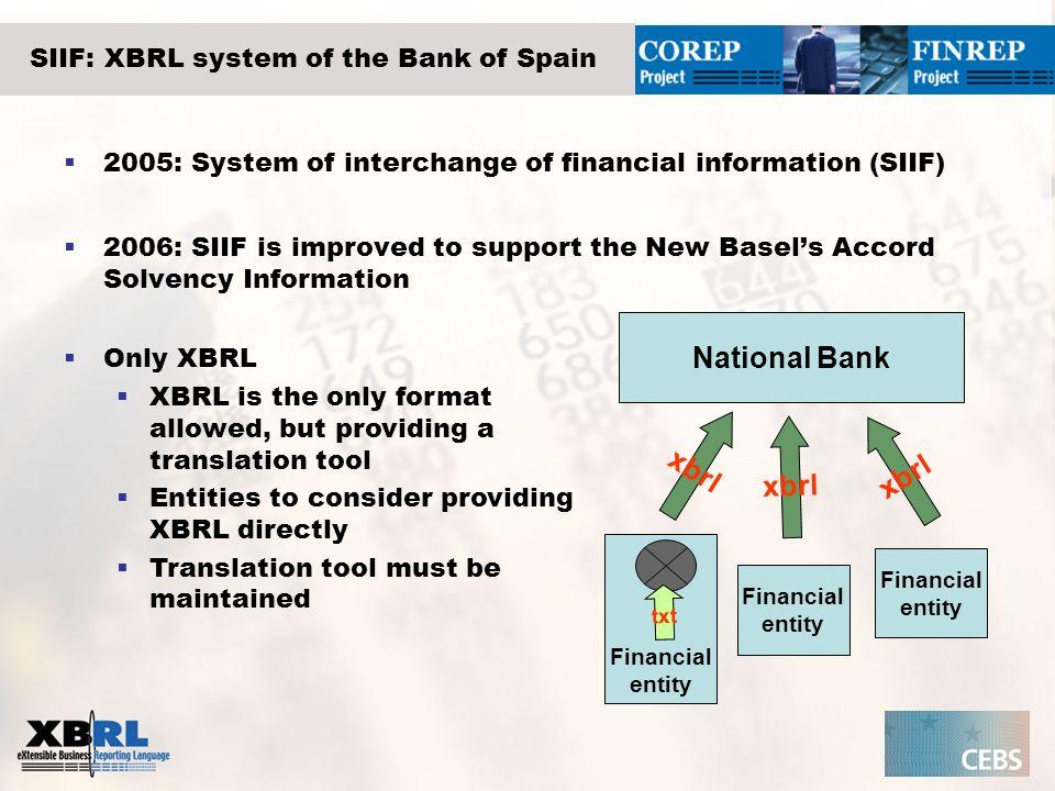 SIIF: XBRL system of the Bank of Spain