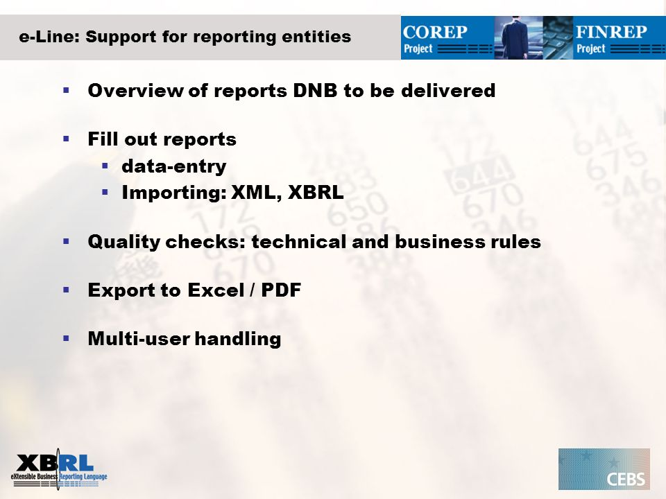 e-Line: Support for reporting entities