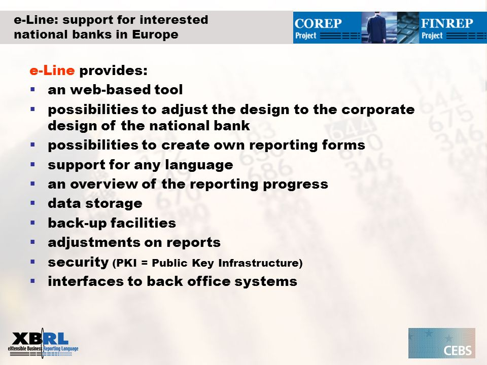 e-Line: support for interested national banks in Europe