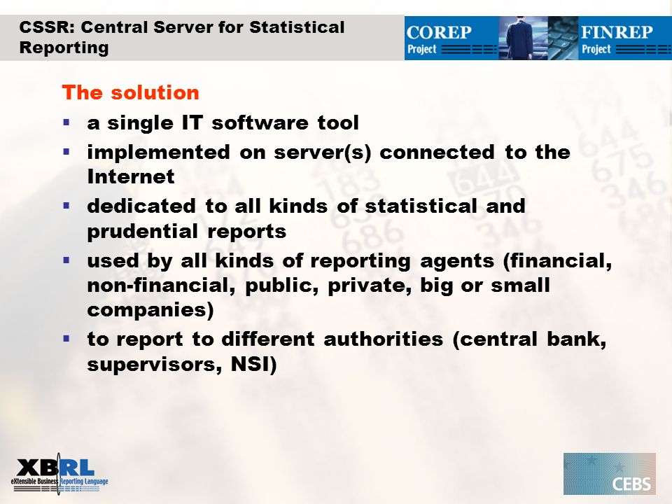CSSR: Central Server for Statistical Reporting
