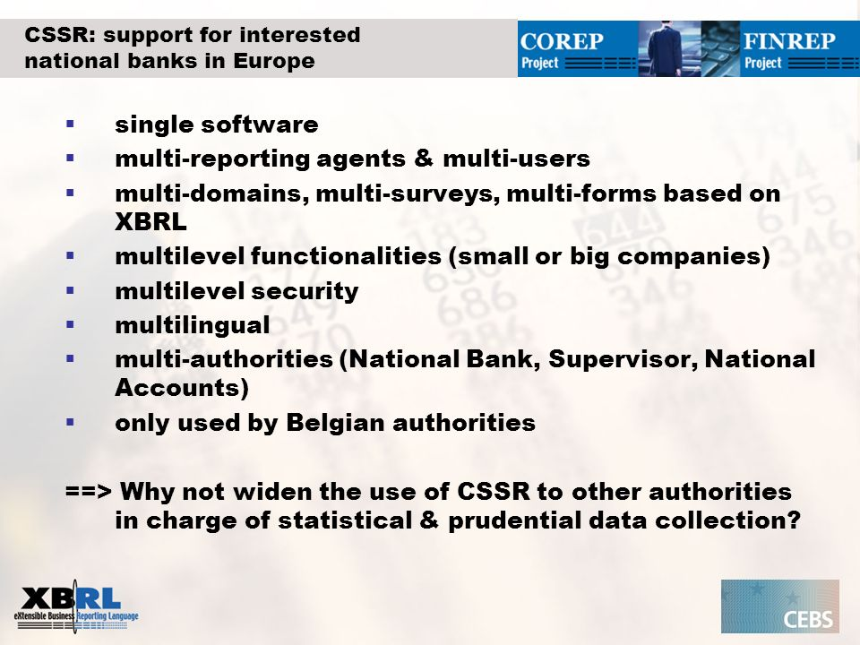 CSSR: support for interested national banks in Europe