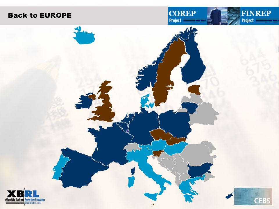 Back to EUROPE Blue  means XBRL is compulsory, optional or planned