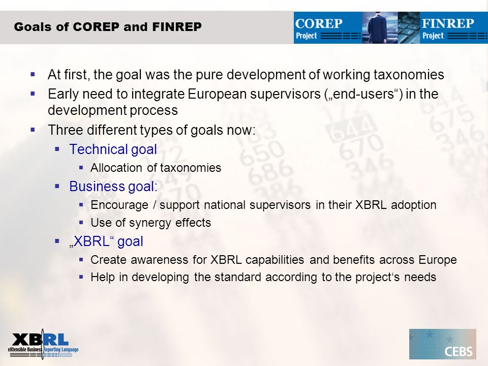 Goals of COREP and FINREP