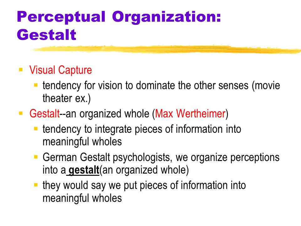 gestalt perception and german psychologists Chapter 12: gestalt psychology 1 1  • perception is not a passive process but  • not many people spoke german • many psychologists believed that gestalt.