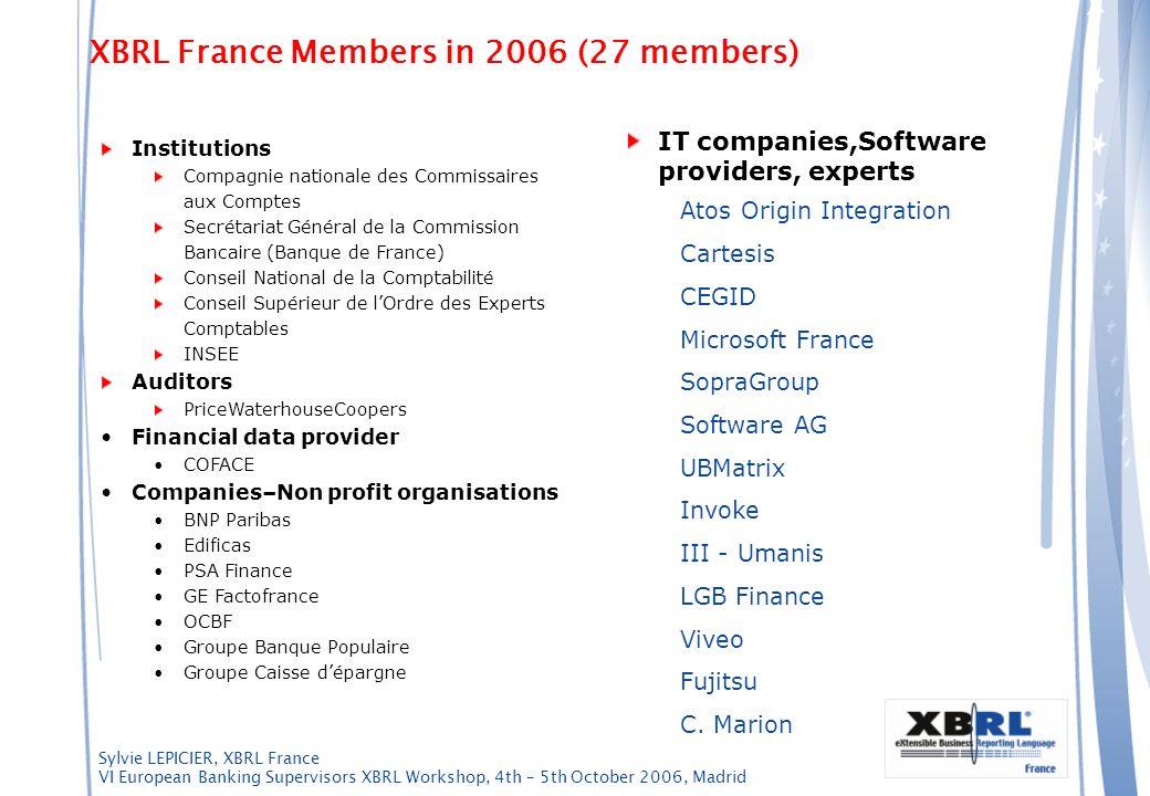 XBRL France Members in 2006 (27 members)