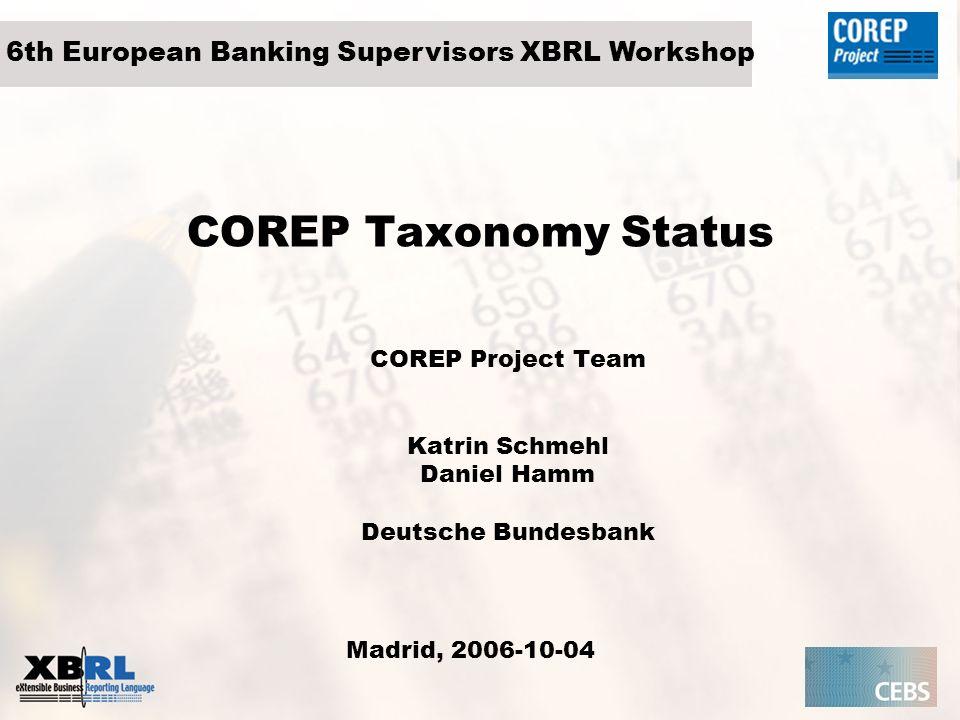 COREP Project Team Katrin Schmehl Daniel Hamm Deutsche Bundesbank