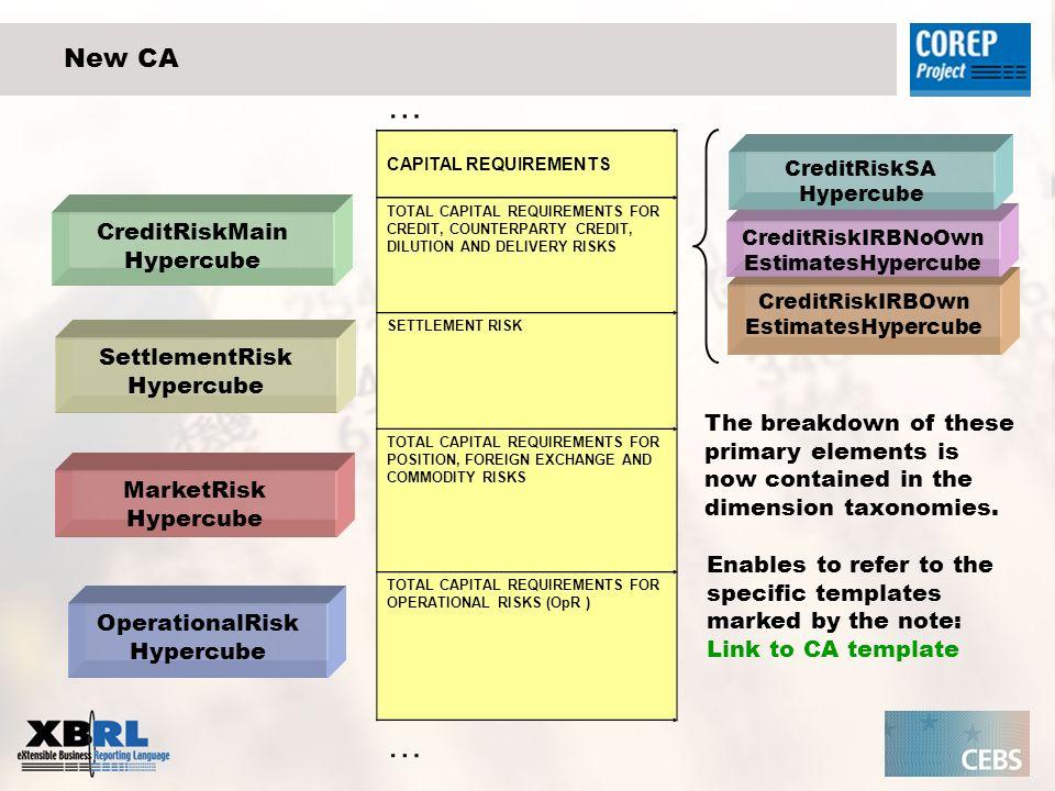 … New CA CreditRiskMain Hypercube SettlementRisk Hypercube
