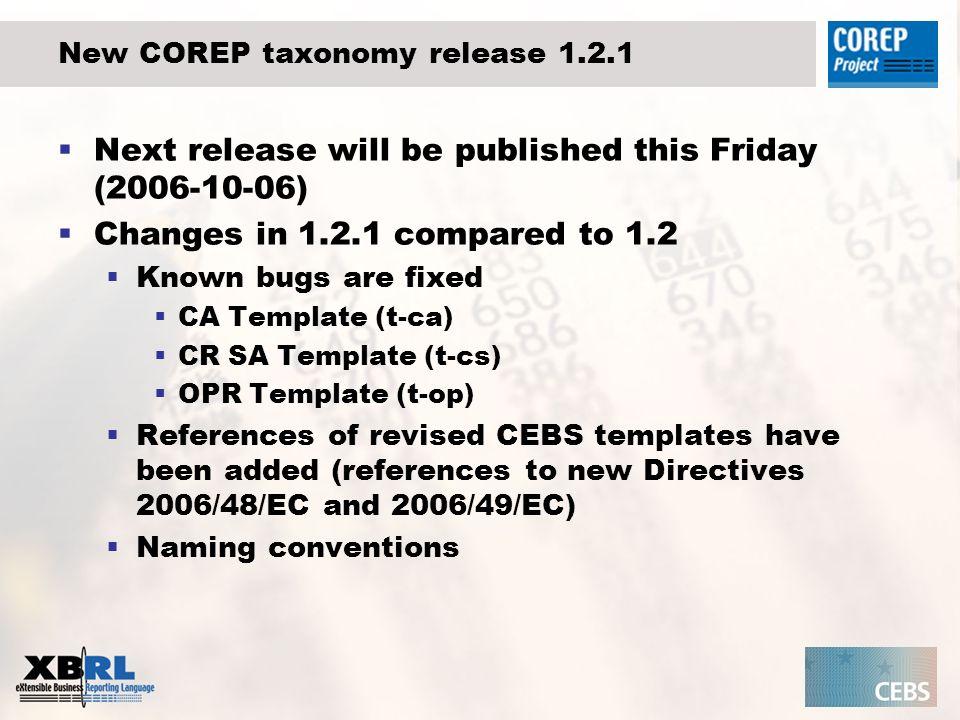 New COREP taxonomy release 1.2.1