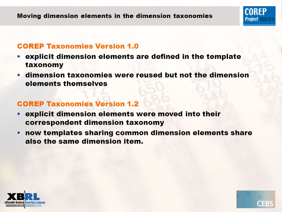 Moving dimension elements in the dimension taxonomies