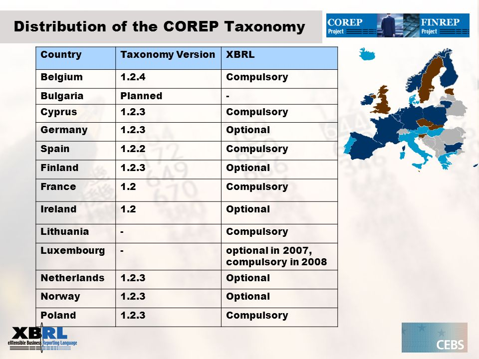 Distribution of the COREP Taxonomy