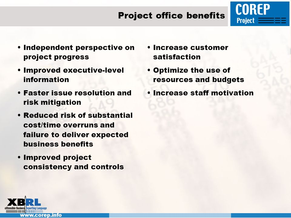 Project office benefits