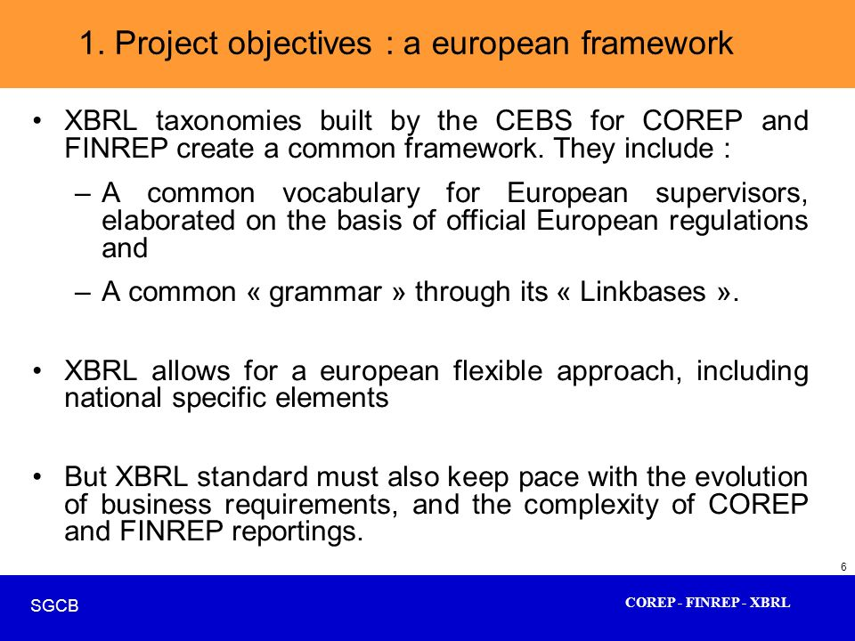 1. Project objectives : a european framework