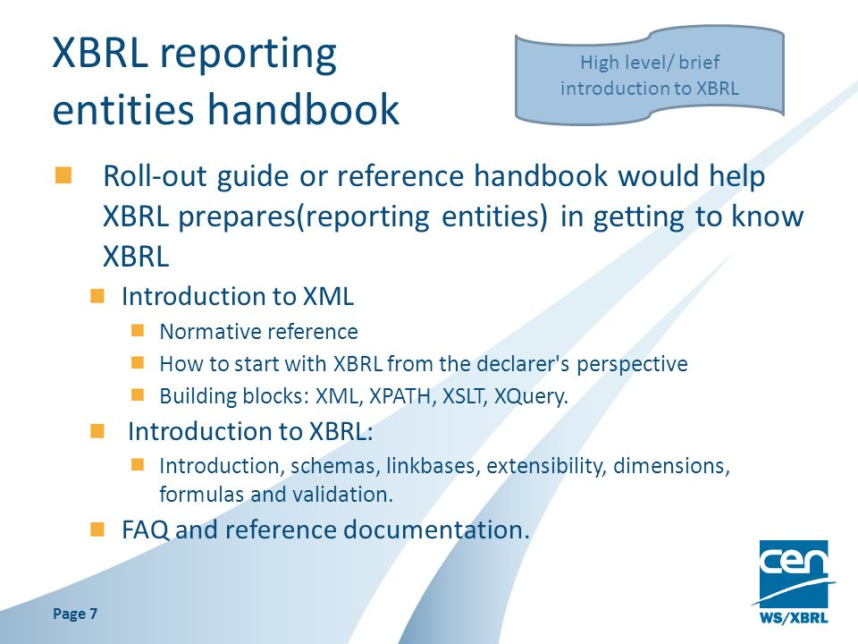 XBRL reporting entities handbook