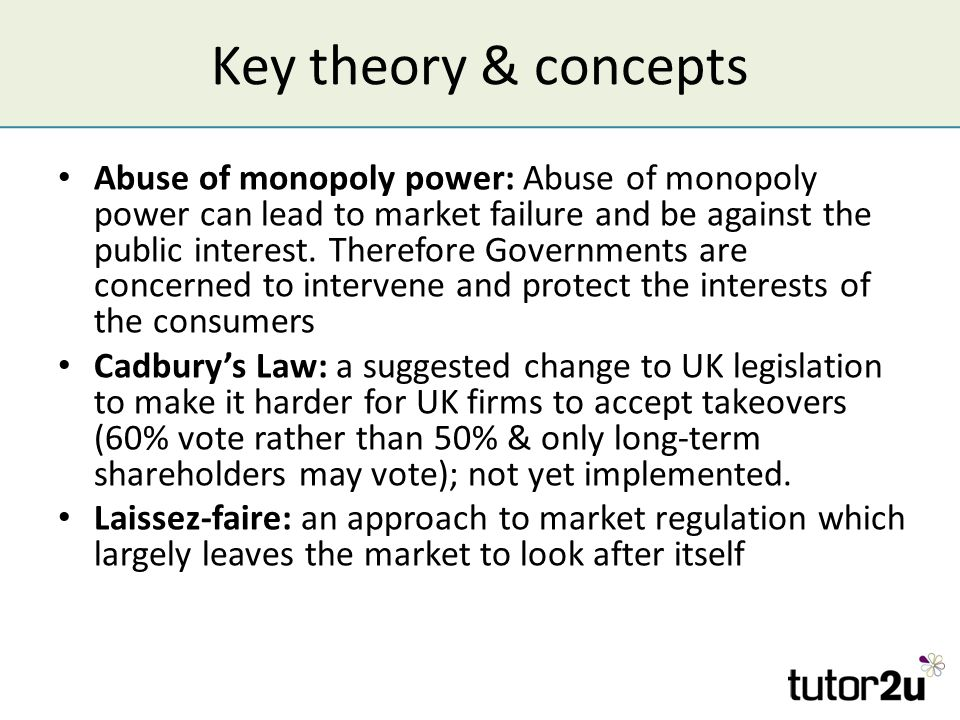 abuse of monopoly power Abuse of monopoly power a most important assumption of the ideal free market economy is that markets within it are competitive, so that a large number of competing.