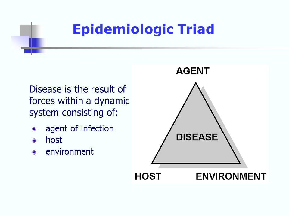 Epidemiologic Triad Disease is the result of forces within a dynamic system consisting of: agent of infection.
