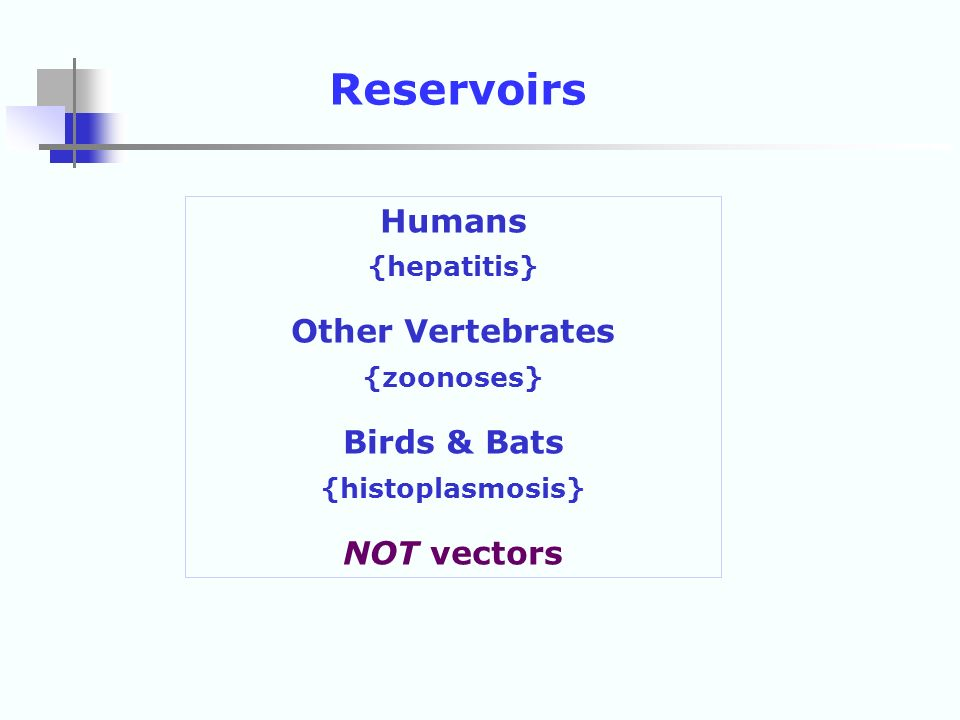 Reservoirs Humans Other Vertebrates Birds & Bats NOT vectors