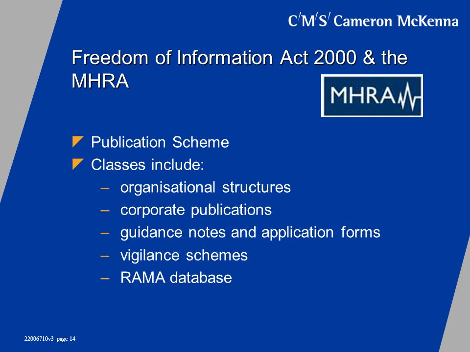 Freedom of Information Act 2000 & the MHRA