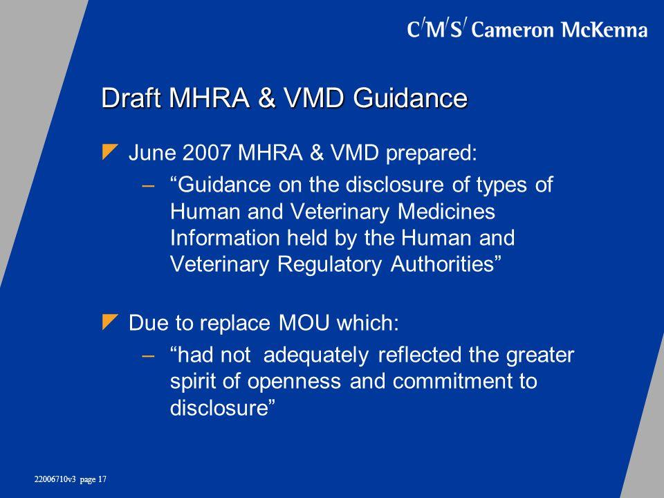 Draft MHRA & VMD Guidance