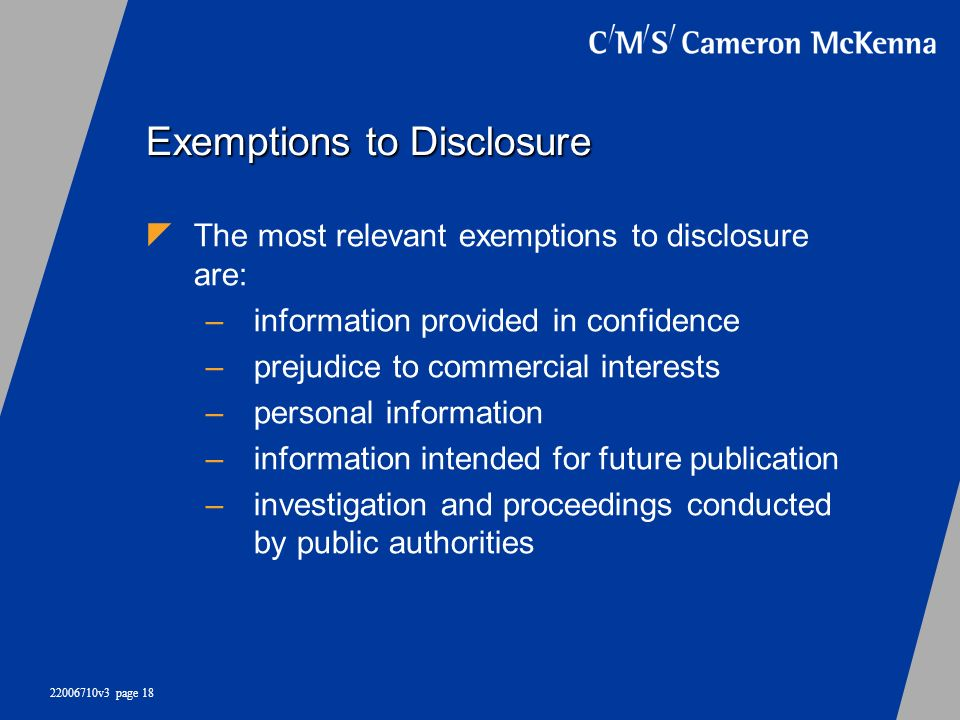 Exemptions to Disclosure