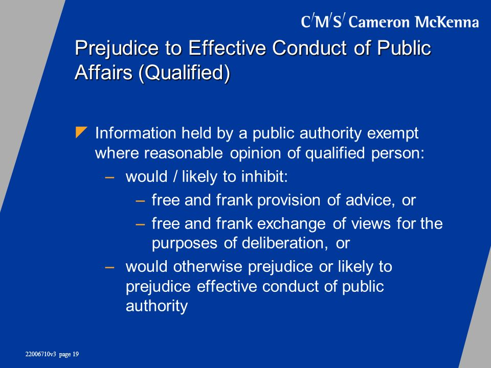 Prejudice to Effective Conduct of Public Affairs (Qualified)
