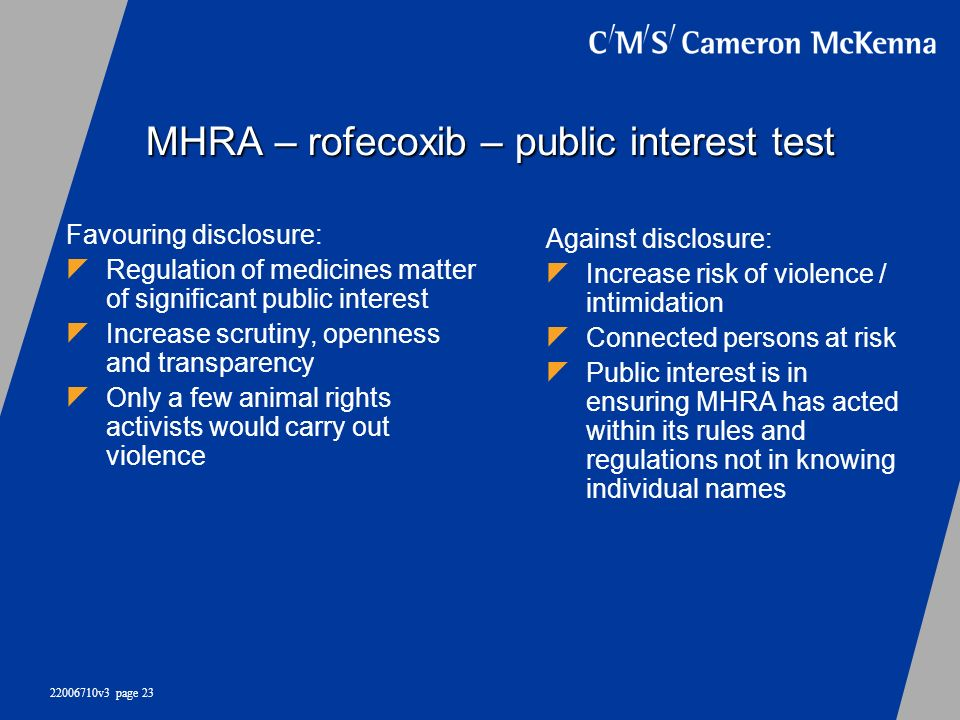MHRA – rofecoxib – public interest test