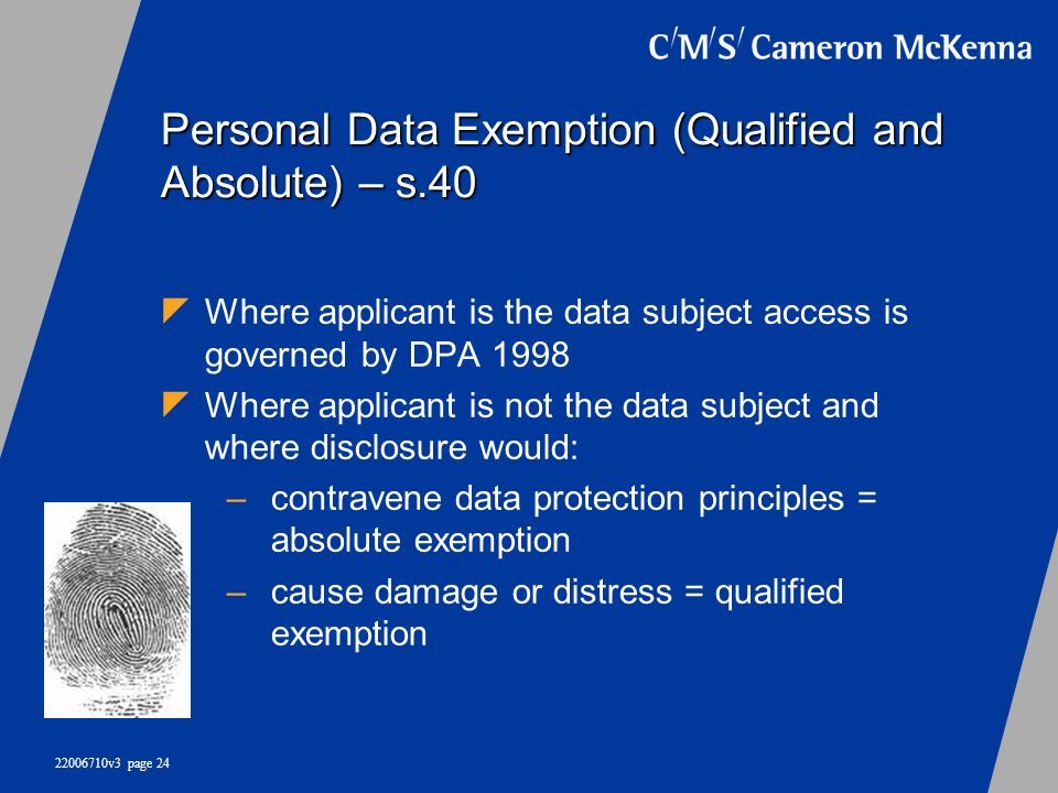 Personal Data Exemption (Qualified and Absolute) – s.40
