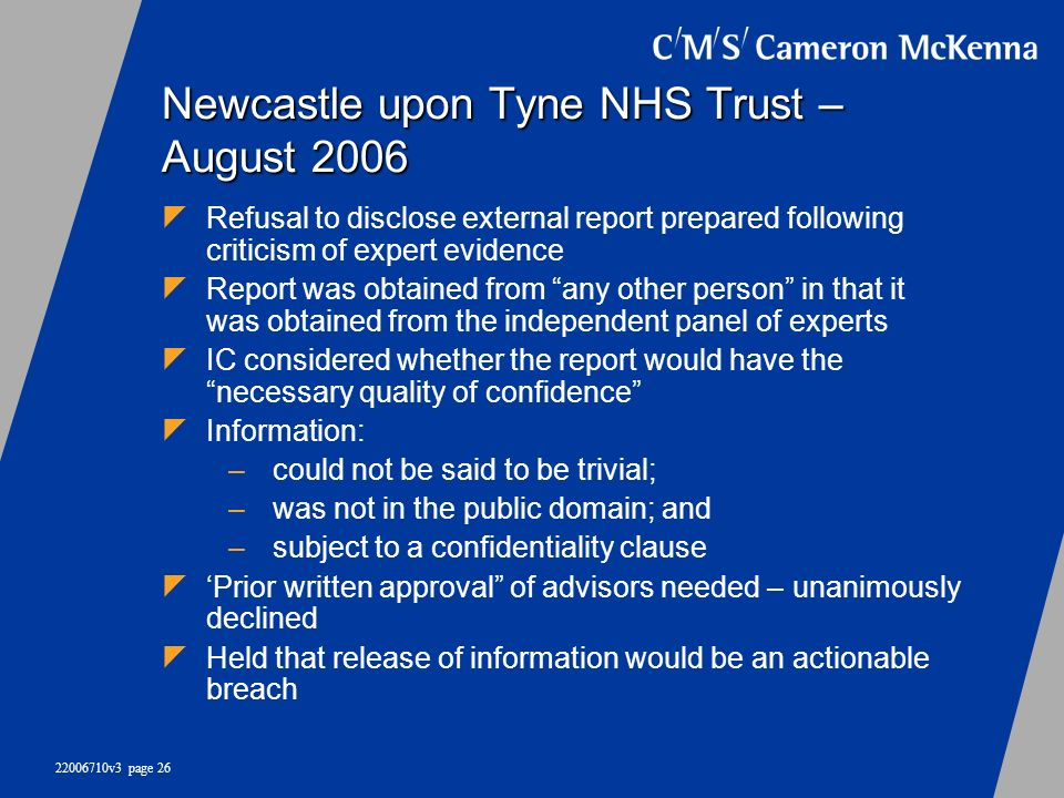 Newcastle upon Tyne NHS Trust – August 2006