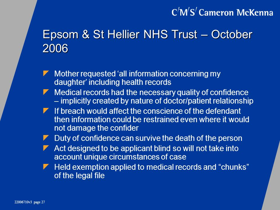 Epsom & St Hellier NHS Trust – October 2006