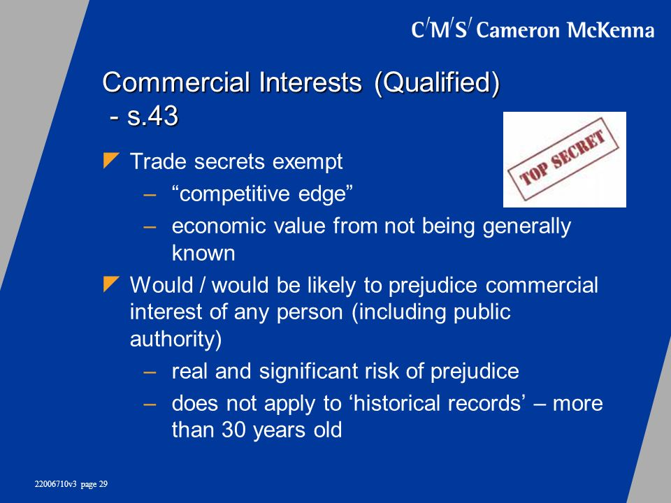 Commercial Interests (Qualified) - s.43