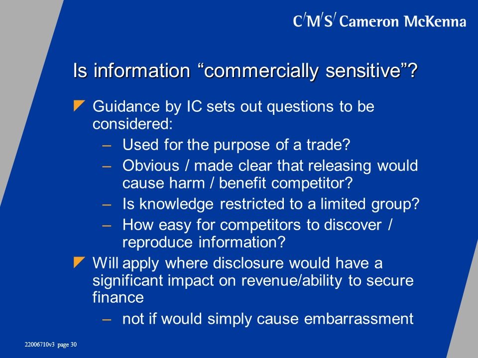 Is information commercially sensitive