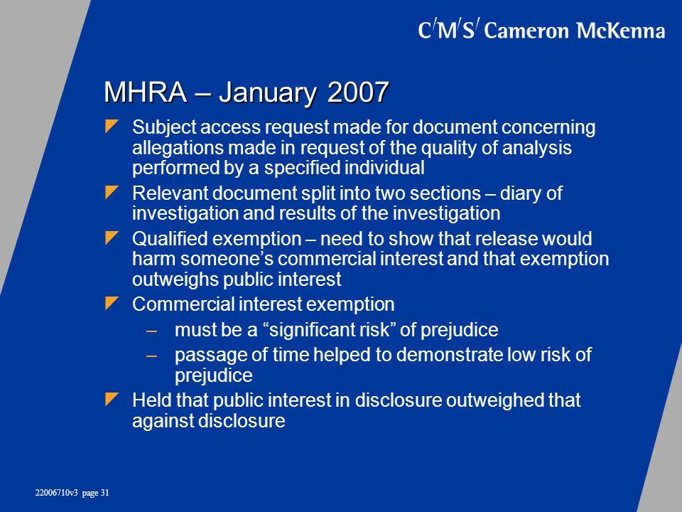 MHRA – January 2007
