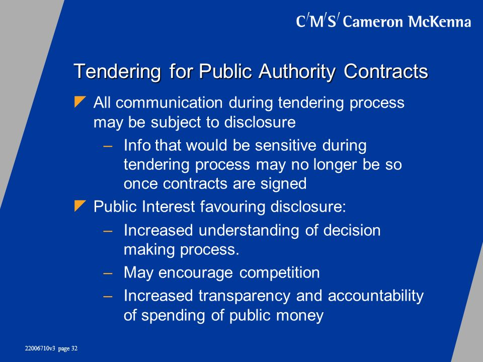 Tendering for Public Authority Contracts