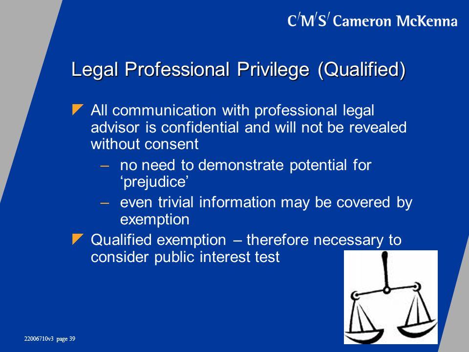 Legal Professional Privilege (Qualified)