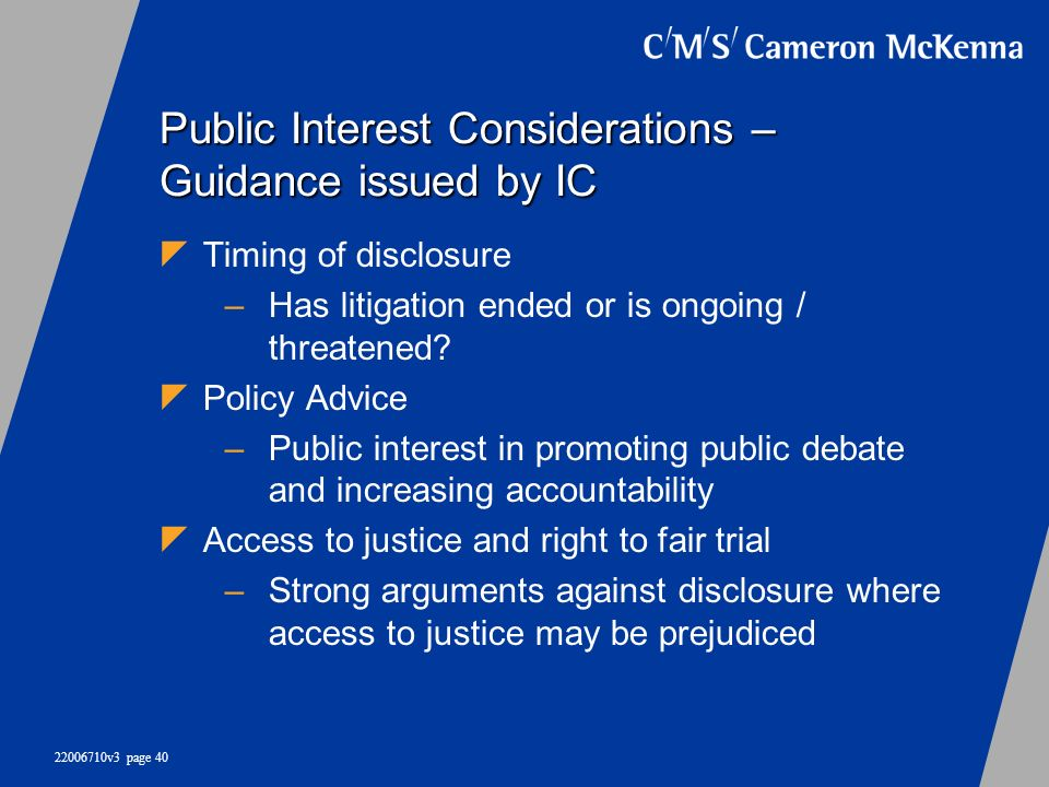 Public Interest Considerations – Guidance issued by IC