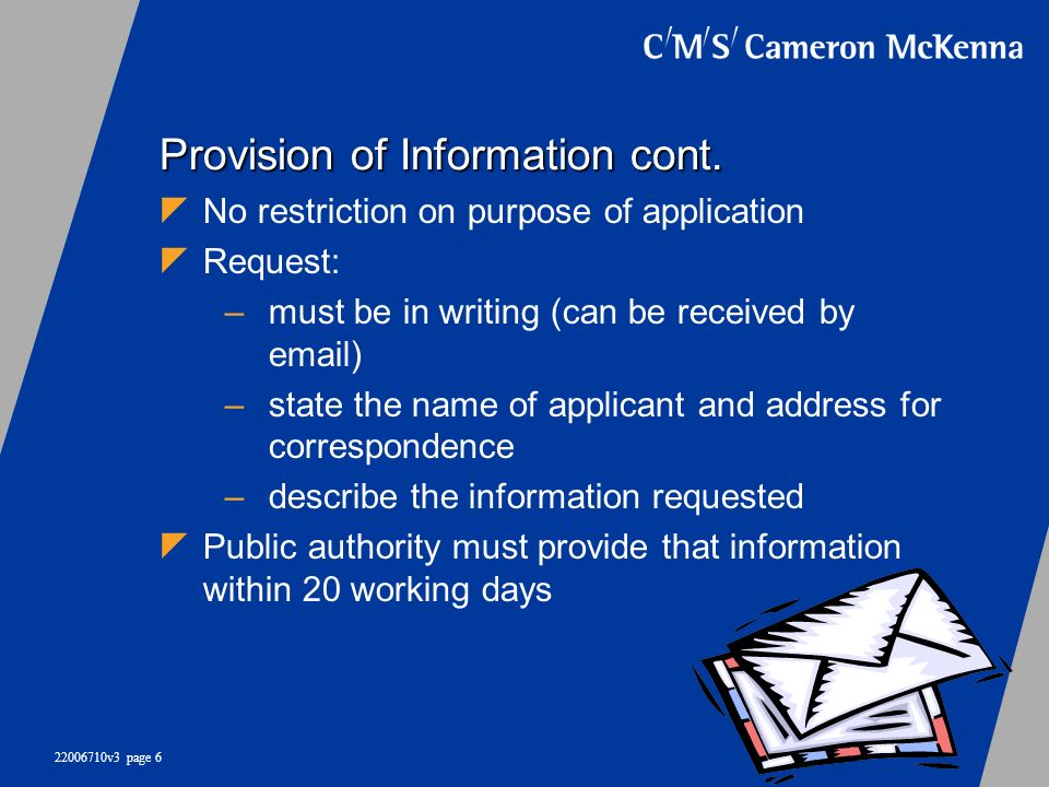 Provision of Information cont.