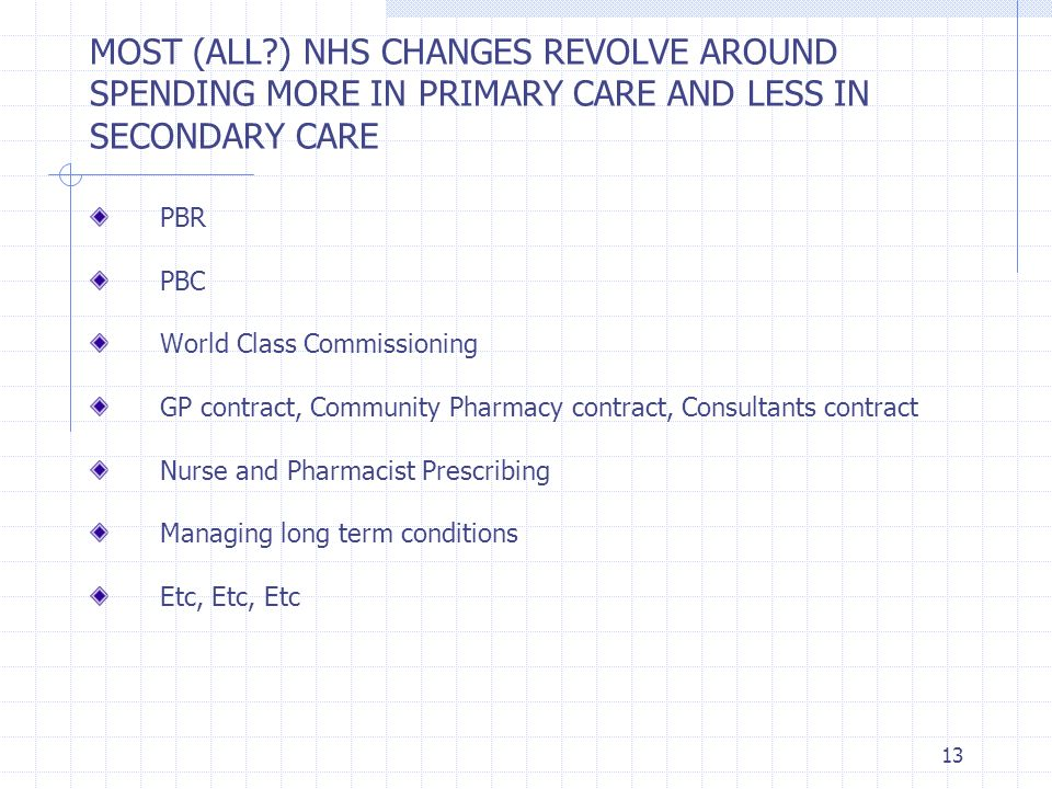 MOST (ALL ) NHS CHANGES REVOLVE AROUND SPENDING MORE IN PRIMARY CARE AND LESS IN SECONDARY CARE