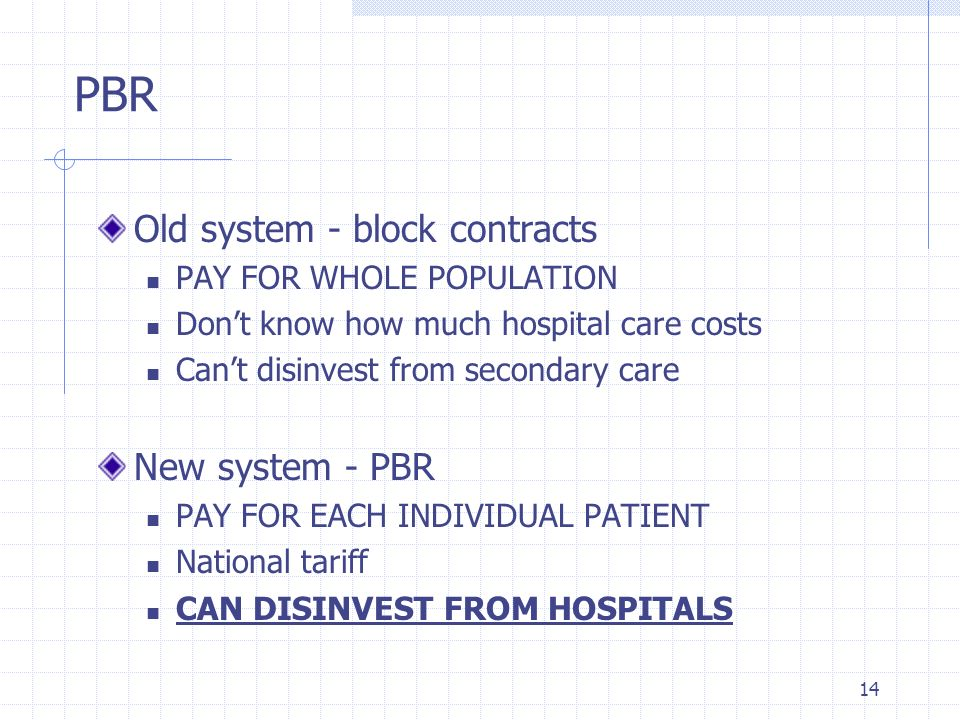 PBR Old system - block contracts New system - PBR