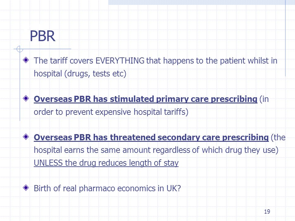 PBR PBR. The tariff covers EVERYTHING that happens to the patient whilst in hospital (drugs, tests etc)