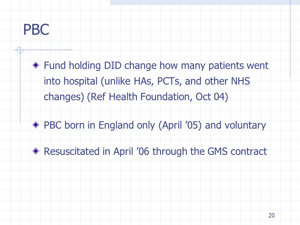 PBC Fund holding DID change how many patients went into hospital (unlike HAs, PCTs, and other NHS changes) (Ref Health Foundation, Oct 04)