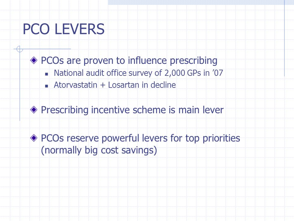 PCO LEVERS PCOs are proven to influence prescribing
