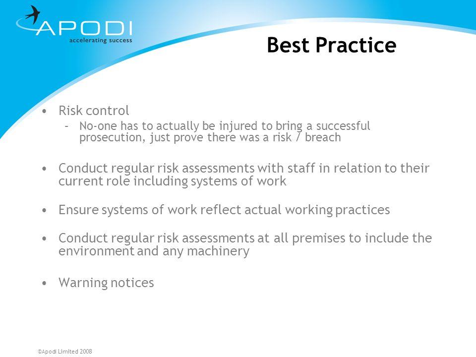 Best Practice Risk control
