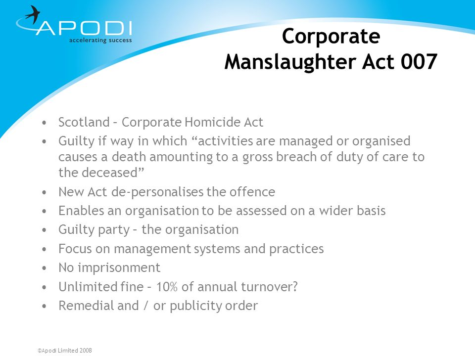 Corporate Manslaughter Act 007