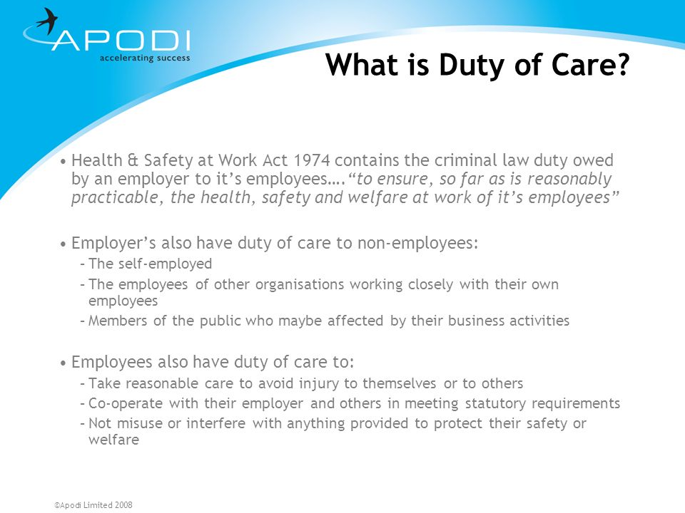 What is Duty of Care