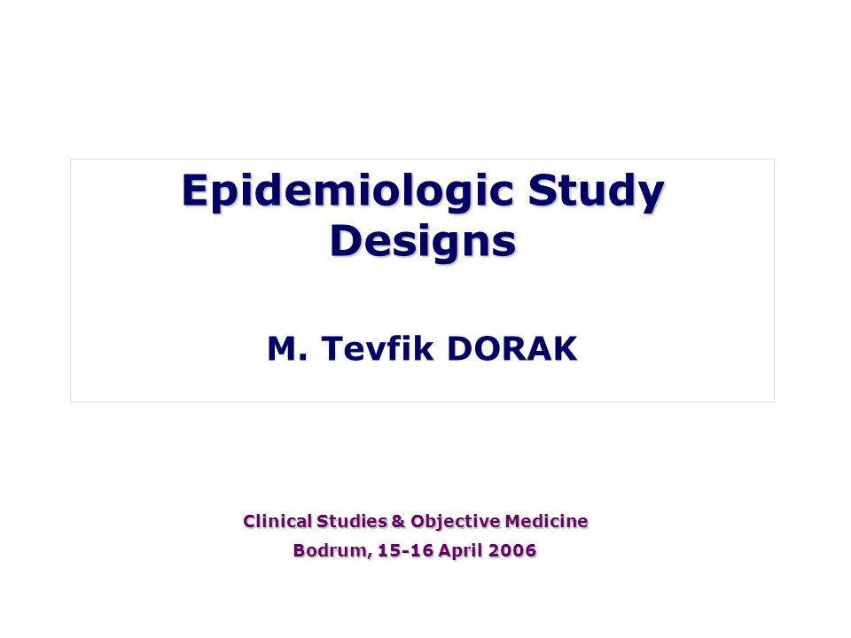 Epidemiologic Study Designs Clinical Studies & Objective Medicine